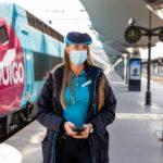 Un agent de gare avec son masque, Crédit : Ouigo.com